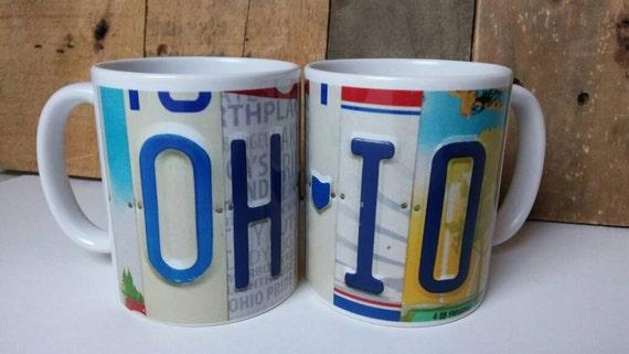Unique Mug - Ohio Mug - License Plate Art Image on Coffee Mug - Unique Mug - Unique Gift - Gift Ohio