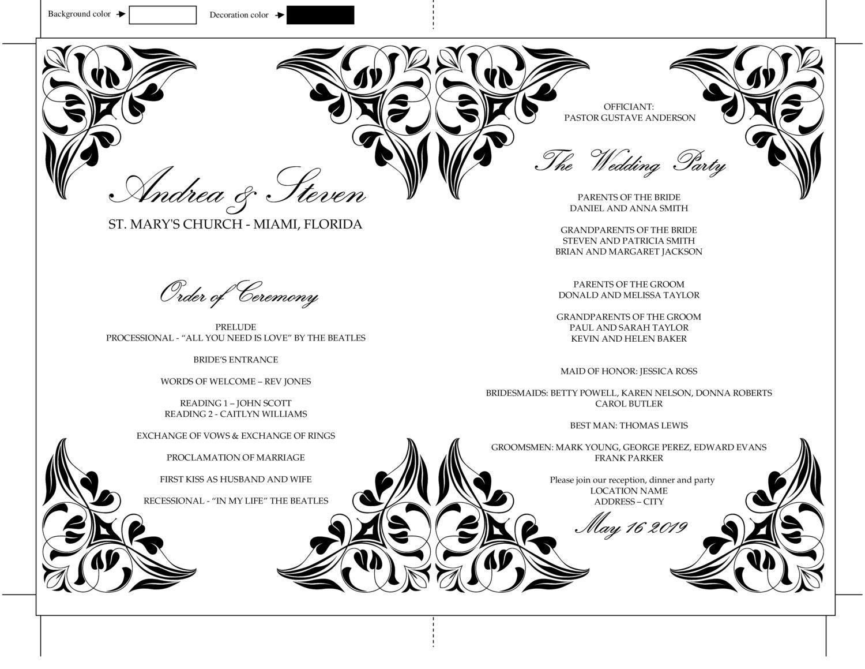 Wedding Program Fan Template, DIY Black and White Elegant ...