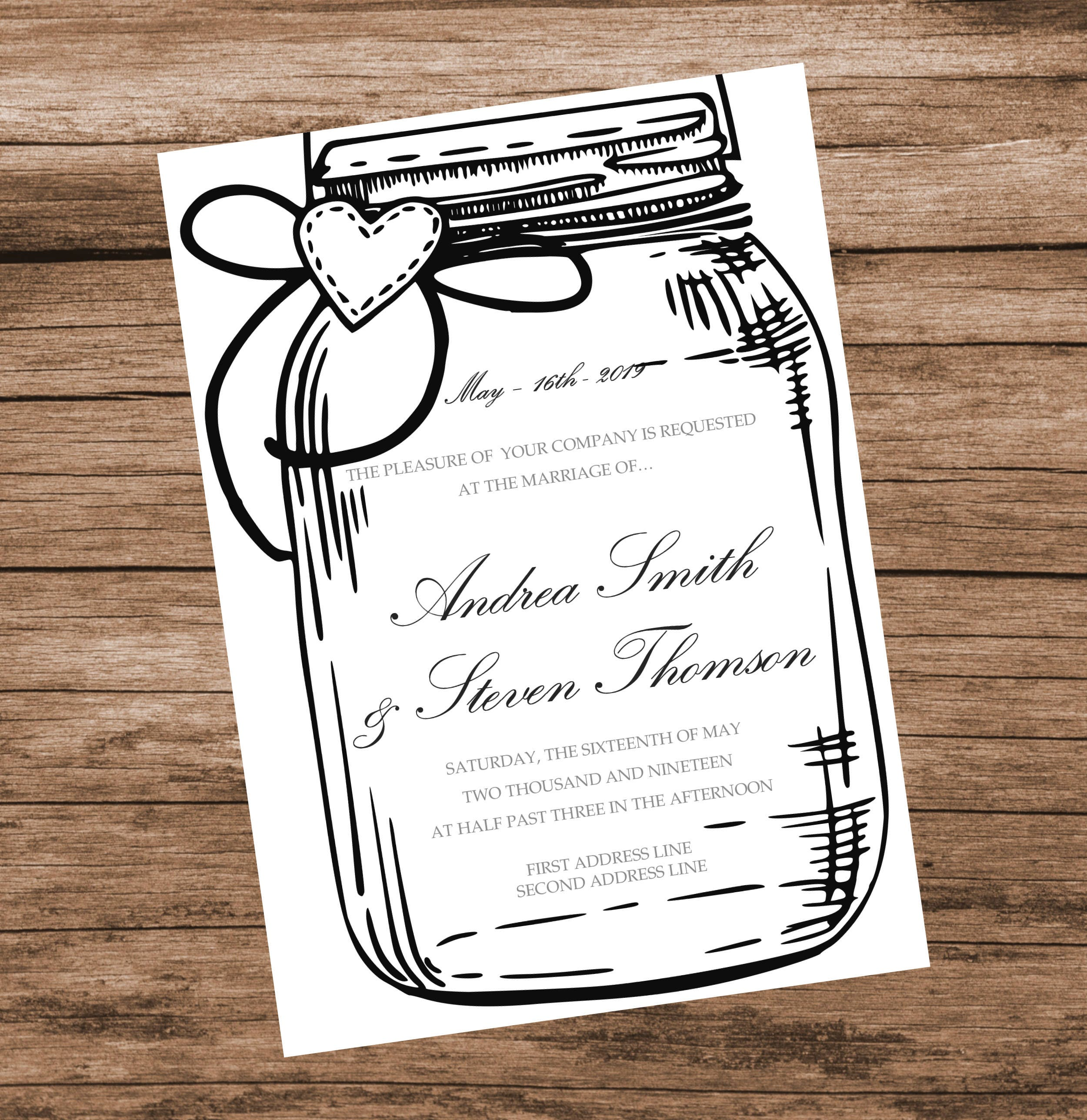 Black Mason Jar Wedding Invitation Template, Black Baby Shower ...