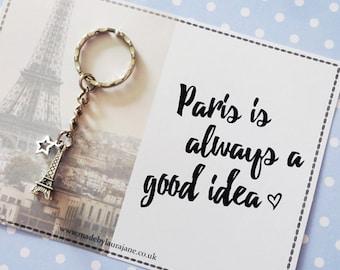 Love Paris quote keyring gift - Anniversary, Wife, Husband, Girlfriend, Boyfriend