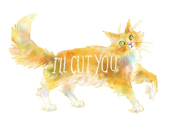 "Sassy Cat ""I'll Cut You"" Illustration 8"" x 10"" Colorful Art Print"