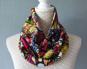 Coloured snood, abstract coloured cowl, abstract loop scarf in modern art design