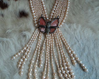 Vintage freshwater pearls with silver butterfly necklace, 433g.