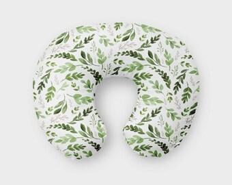 Neutral Boppy - Neutral Boppy Pillow Cover - Modern Boppy Slipcover - Green - Leaves - Gender Neutral Boppy Slipcover - Nursing Pillow