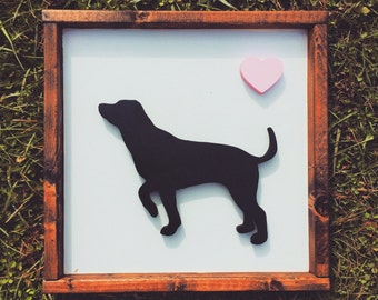 Personalized Black Lab Dog Hand Painted 12 X 12 and Framed 3D Animal Art -- You Pick the Animal, Color, Breed