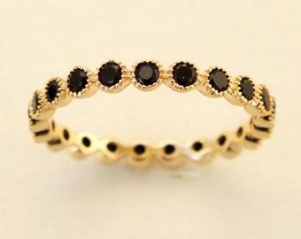 Gold Ring, CZ ring, Black stone Ring, Cubic Zirconia Ring, Stone Ring, Band Ring, Stacking Ring
