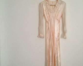 Vintage 1930s Satin Dress - Liquid Satin Dressing Gown - Dusty Pink Gown with Mesh Sleeves