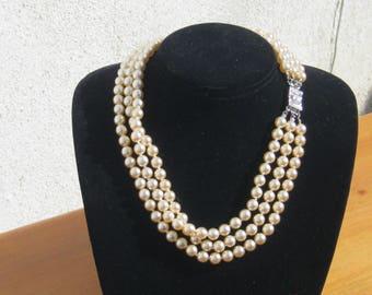 Graziano Vintage Pearl Necklace , Triple strand necklace, glass pearl necklace