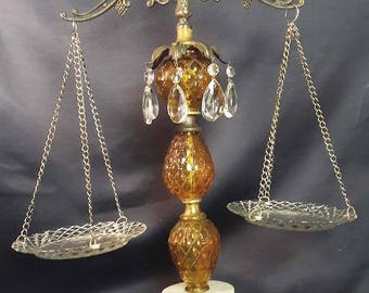 Vintage, Ornate Amber Glass and Crystal Justice Scale / Balance Decor