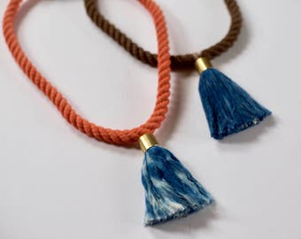 Oaxaca No. 10 Naturally Dyed Rope Fiber Tassel Necklace with Brass