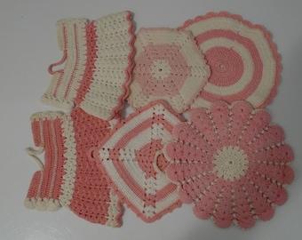 Vintage Pink Kitchen Crochet Pot Holder Set of Six