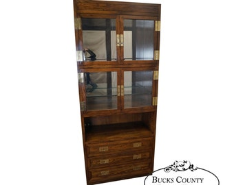 Henredon Scene 1 Campaign Style Curio Display Cabinet W/ Drawers (B)
