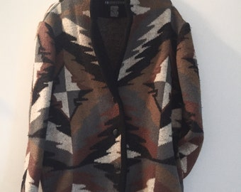 Vintage Oversized Tribal Sweater Jacket • 1990's Ladies Wool Button Down • Large