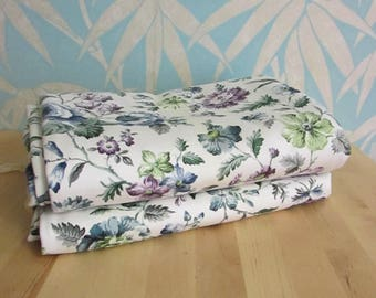 Pair of vintage chintz-style floral blue/lilac/green curtains