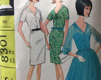 McCall's 8301 vintage 1960's misses dress in two versions sewing pattern size 14 bust 34