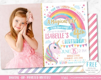 Unicorn Invitation, Rainbow Invitation, Magical Invitation, Unicorn Birthday Invitation, Rainbow Birthday Invite Printable, Unicorn Party