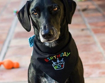 Birthday Boy Dog Bandana || Happy Birthday Pet Scarf || Embroidered Black Turquoise Chevron Classic Tie || Puppy Gift by Three Spoiled Dogs