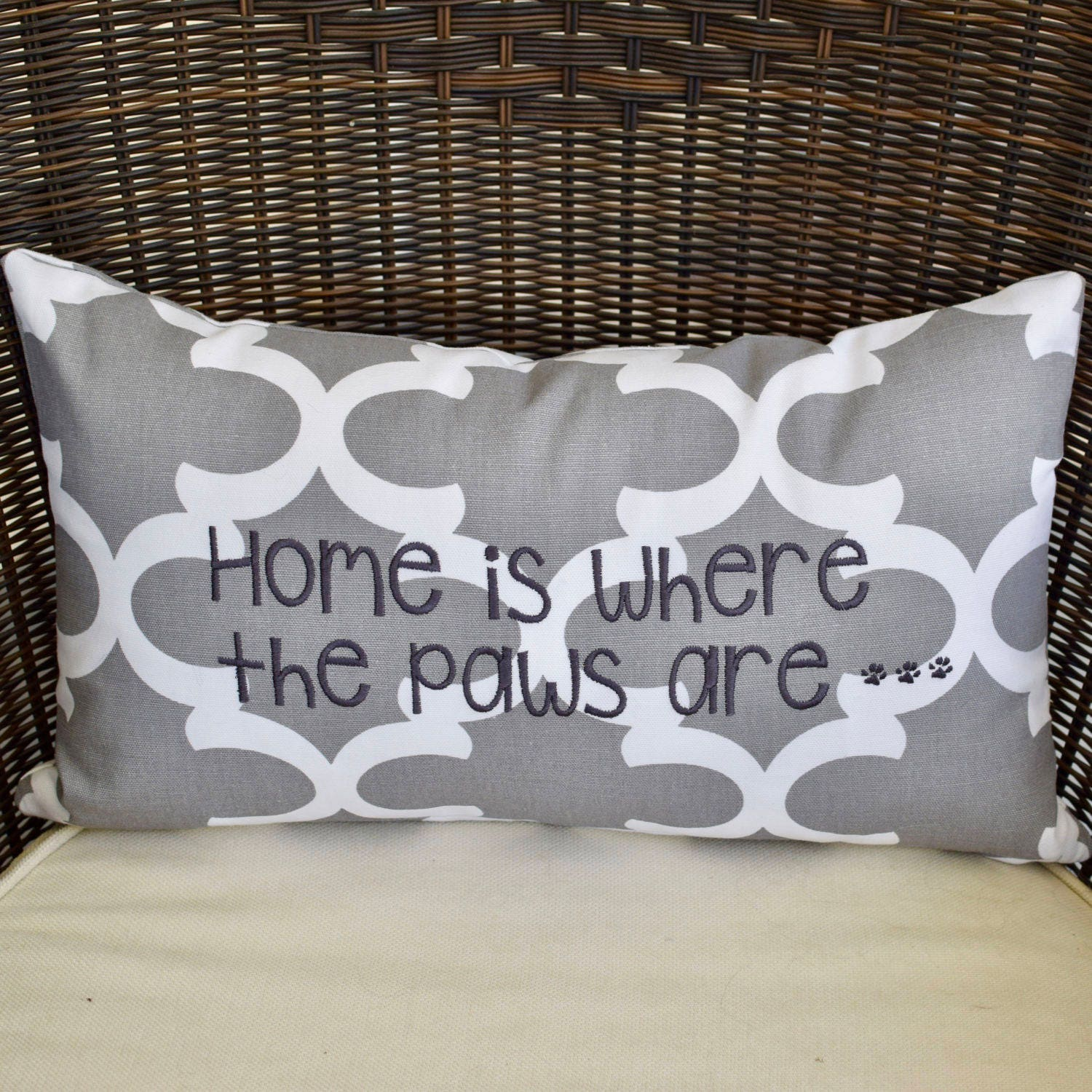Throw Pillow Home Is Where The Doodle Is : Home is Where the Labradoodle is Grey Throw Pillow Quatrefoil Accent Pillow Cover ...