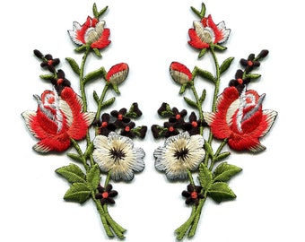 Embroidered flower Patch Black & red roses pair flowers embroidered appliques iron-on patches sew on patch