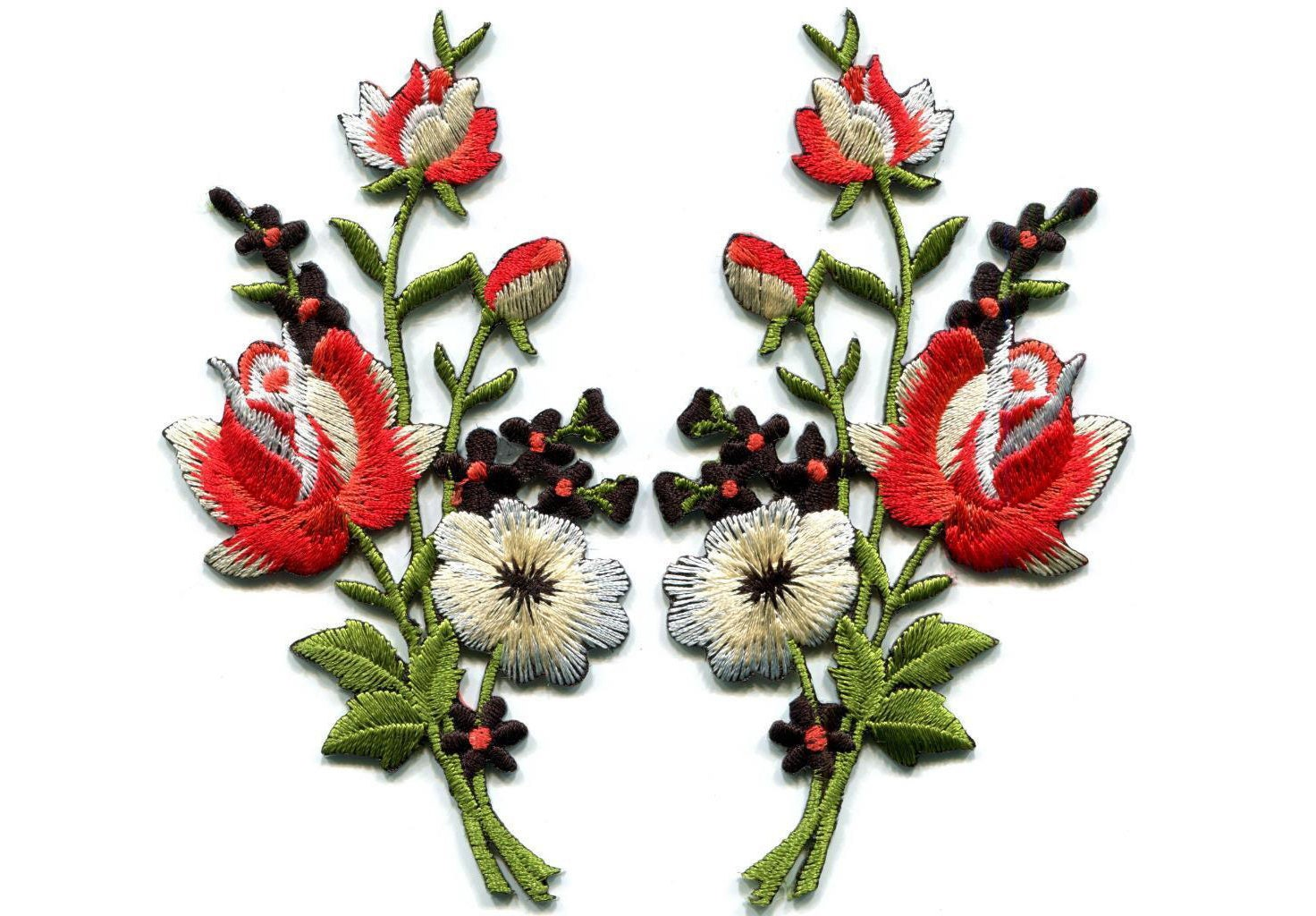 Embroidered flower Patch Black & red roses pair flowers embroidered appli