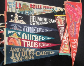 Vintage Felt Travel Pennants - Quebec - Montreal, Ste Anne de Beaupre, Trois Rivieres, Perce