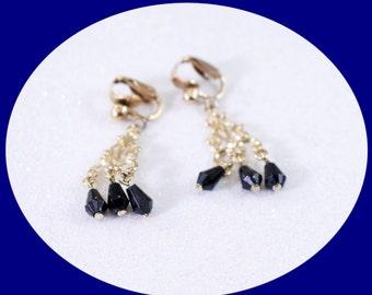 Vintage Black Rhinestone Clip On Earrings Vintage Clip on Earrings Brides Earrings Statement Earrings Vintage Crystal Earrings