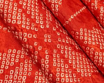 Red-orange silk Kimono fabric with shibori hemp leaf asanoha pattern - by the yard