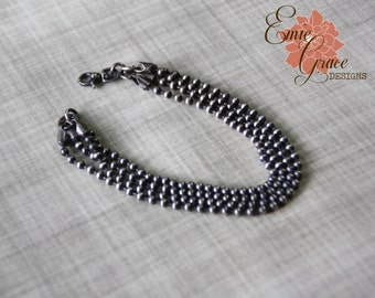 Silver Ball Chain Layered Bracelet, Sterling Silver Rustic Oxidized Bead Chain
