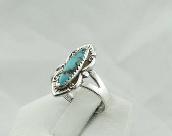Gorgeous Kachina Hallmarked Blue Turquoise Vintage Sterling Silver Southwest Native American Navajo Ring  #KACHINA-SR1