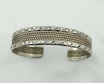 Southwest Navajo Native American Vintage Silver and Gold Cuff Bracelet  #GLDSLVR-SR1