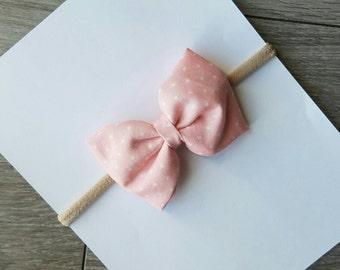 baby pink bow, nylon headbands, fabric bows, baby pink bow,  newborn bow,  soft bows, baby headband,