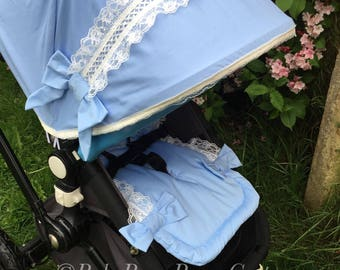 Custom hood & liner for Bugaboo Cameleon 1,2,3 baby blue spanish style lace