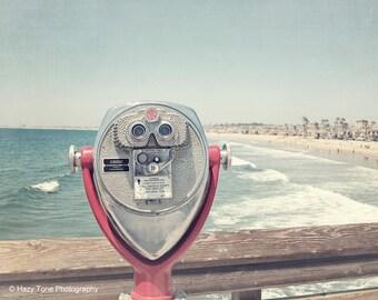 Beach Art Print, Beach Photography, Summer Outdoor Decor, Newport Beach, Pier Photo, California Wall Art, Seascape Coastal Decor Ocean Print