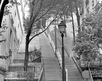 France Photography, Paris Photography Print, Black and White, Wall Art, Montmartre Stairs, Steps, Horizontal Art, 8 x 10 Print, 20 x 24 Art