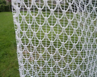 Large Vintage Retro 70s French Textured Woolly Net Curtain.