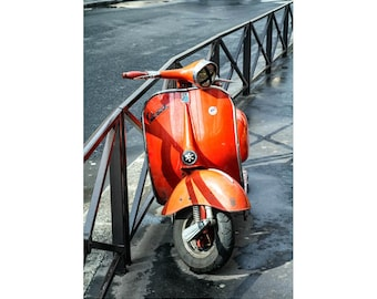 motorcycle art, vespa art, Paris photo, red orange wall art, vespa art print, scooter wall art photograph, bike wall art print