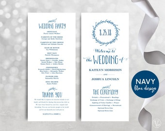 Navy Blue Printable Wedding Programs, DIY Wedding Programs, Wedding Program Template, Editable text, Classic Wreath VW07