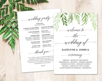 Greenery Wedding Program Template, Printable Wedding Programs, DIY Wedding Programs, Botanical Greenery