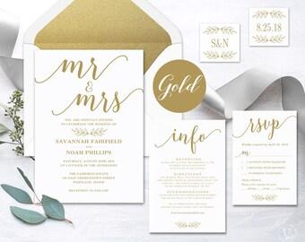 Gold Calligraphy Wedding Invitation, Printable Wedding Invitation Template,  Gold Wedding Invitations, Editable Text
