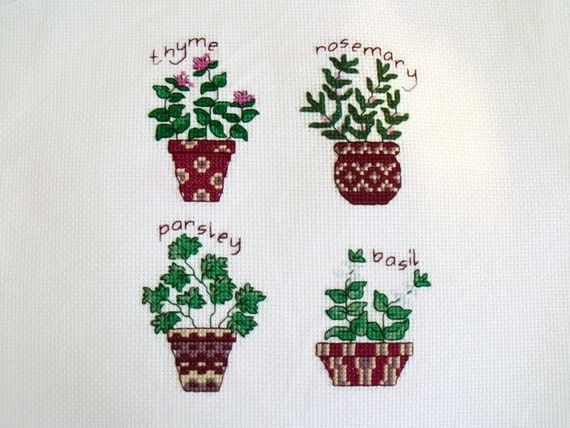 herbs cross stitch picture, counted cross stitch to frame, kitchen wall art, embroidered picture