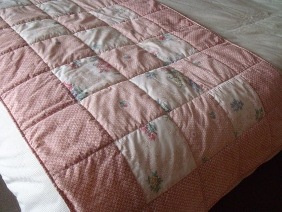 double runner, upcycled bed runner, bedspread, quilted throw, recycled Dorma fabric, dusky pink and cream