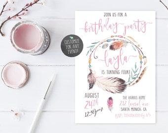 Boho Birthday Party Invites, Vintage Birthday Party Invites, Birthday Party Invites, Feather Birthday Party Invitations, Boho Birthday [487]