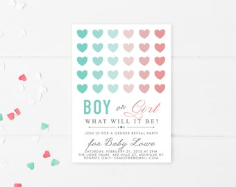 Gender Reveal Invitation, Gender Reveal Party, Baby, Baby Shower, Boy Or Girl, Printable Invitation, Digital, Heart, Download, Invite [161]