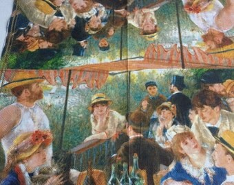 Art Set of 2(two)napkins master artwork Renoir Luncheon of the boating party/for collection,decoupage,scrapbooking and other art,crafts