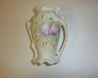 Vintage Hand Painted Porcelain Flower Vase Matte Finish Sage Green Lavender Hydrangea Victorian Style