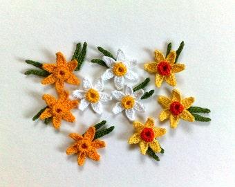 set of 3 Crochet Daffodil Decorative crochet Spring flowers Gift decorations  Handmade flowers Embellishment