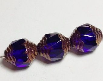 6pcs Blue Cathedral Beads - Czech Glass 10x8mm - GB195