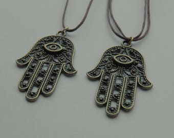 Bronze Hamsa Hand Pendant Necklace