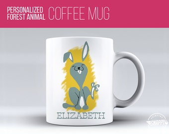 Personalized Bunny Coffee Mug - Cup, Dishwasher and Microwave Safe, Custom Name Ceramic Mug, Original Artwork, Printed on BOTH sides