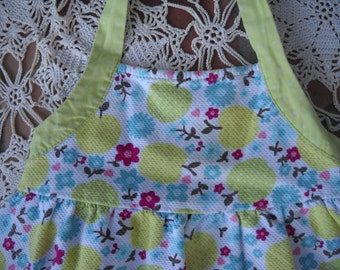 Granny Smith Apple Green, Apple Halter Sundress by Gymboree made of 100% cotton pique with elastic in back and full skirt, size 5, too cute